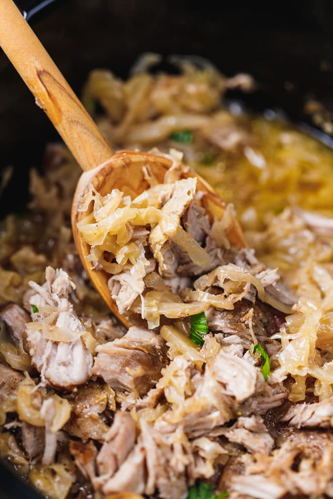 Pork and sauerkraut in a slow cooker