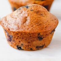 BLUEBERRY MUFFINS ON MARBLE BOARD
