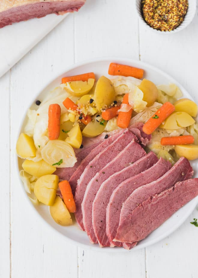 Sliced Dutch Oven Corned Beef on a plate
