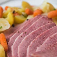 Sliced corned beef on a plate
