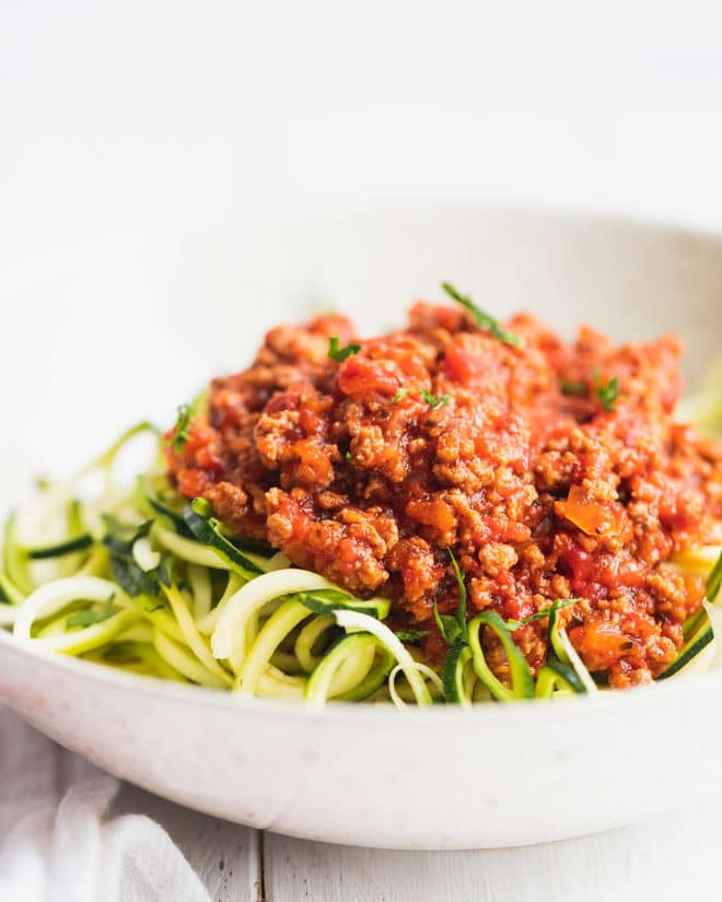 Keto bolognese over zoodles in a bowl