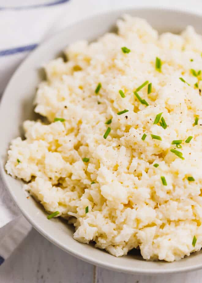 Cauliflower mash in a gray bowl