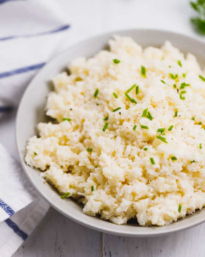 Creamy cauliflower mash in a bowl