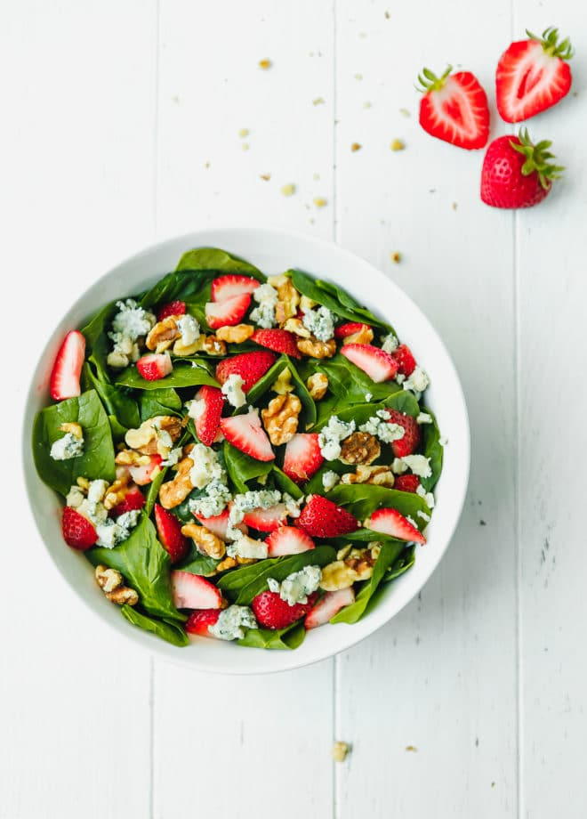 Fresh strawberry spinach salad in a bowl