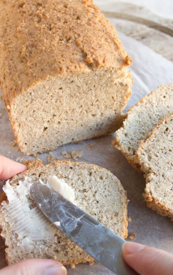 Almond flour keto bread on a cutting board