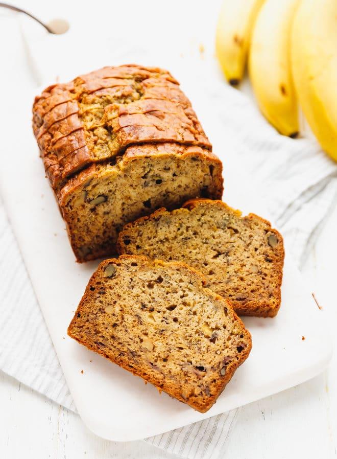 Banana-walnut-bread on a cutting board