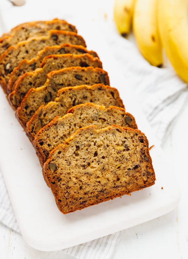 Banana walnut bread on a cutting board