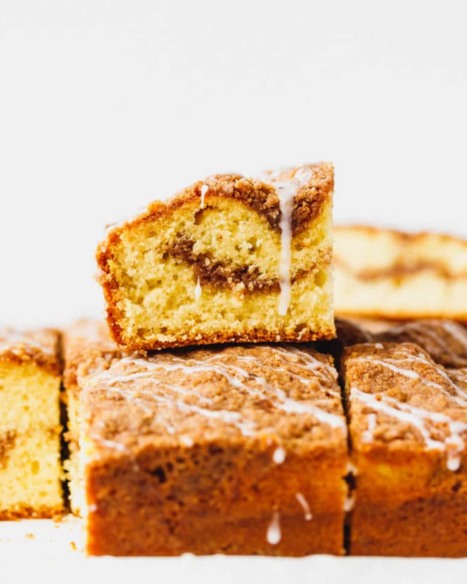 Cinnamon coffee cake cut into squares