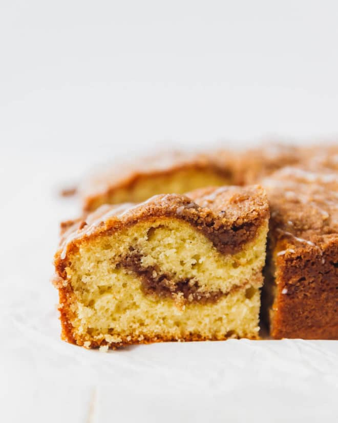 Cinnamon coffee cake with crumb topping and swirl