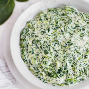 Keto Creamed Spinach In a Bowl