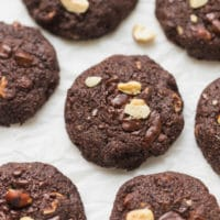 Keto chocolate cookies on parchment paper
