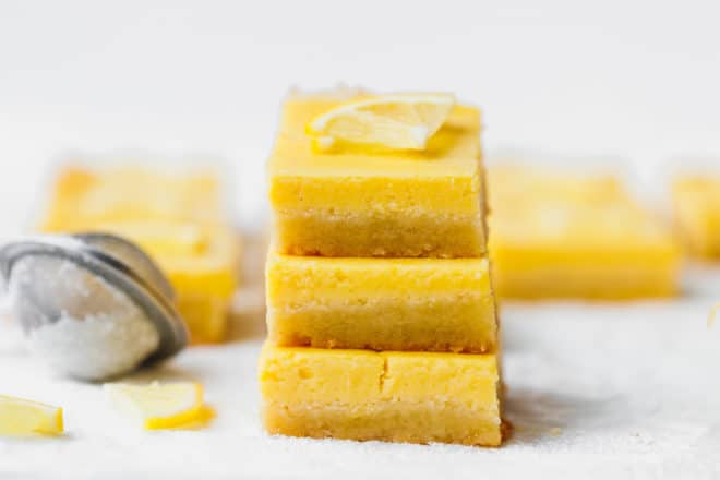 Keto lemon bars on top of each other