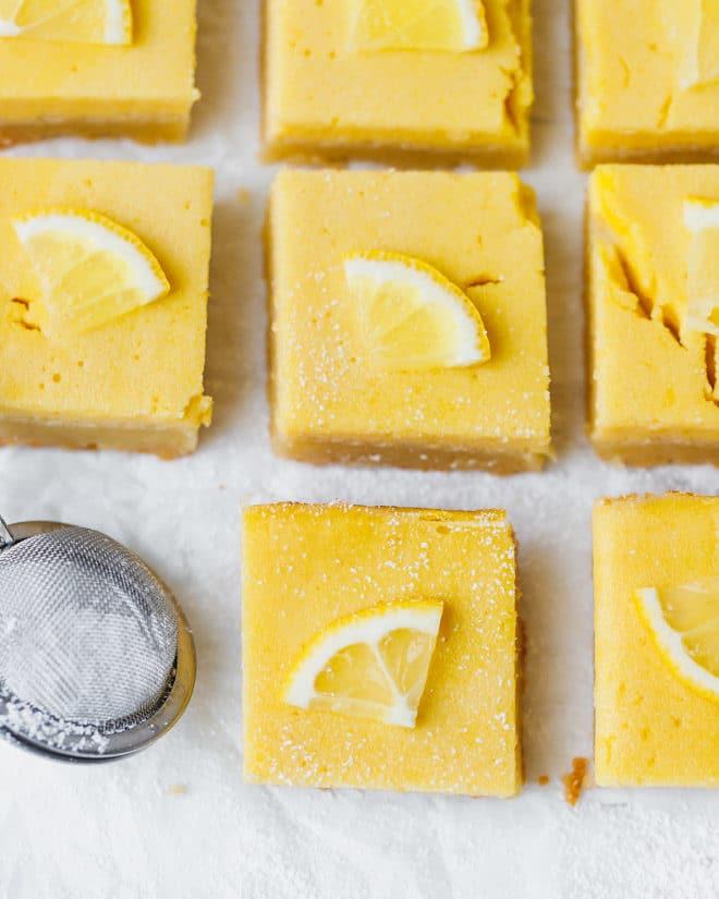 Keto lemon bars on parchment paper