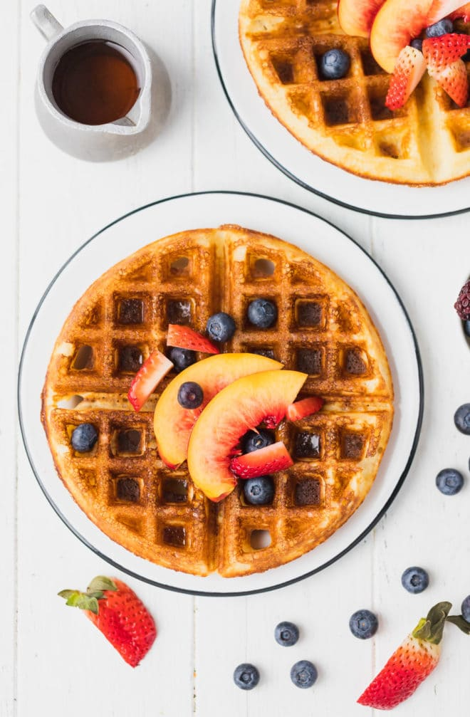 Yeast waffles recipe on a plate