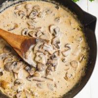 Creamy mushroom sauce in a skillet