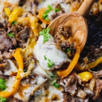 Low Carb Philly Cheesesteak Skillet with wooden spoon