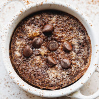 KETO CHOCOLATE MUG CAKE IN WHITE RAMEKIN