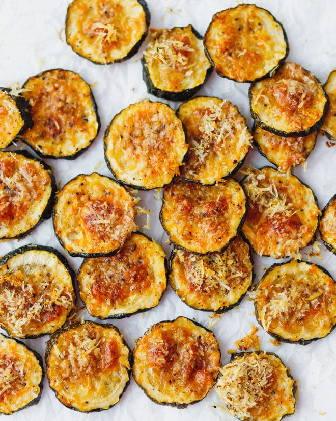 baked zucchini chips on baking sheet
