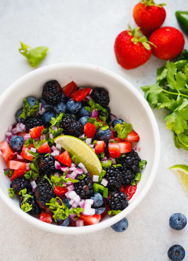 Fresh berry salsa in a bowl