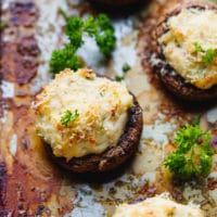 Crab Stuffed Mushrooms on a baking dish