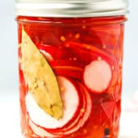 pickled radishes in a jar