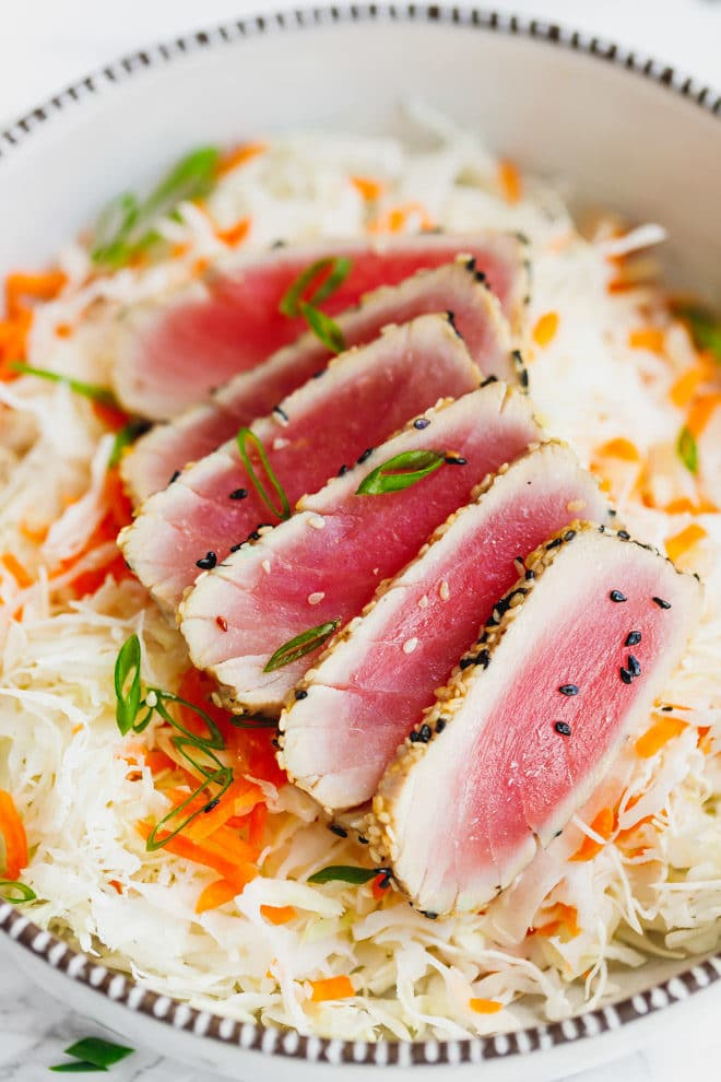 Sesame Crusted Ahi Tuna over a salad
