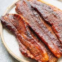 Smoked pork belly slices on a plate