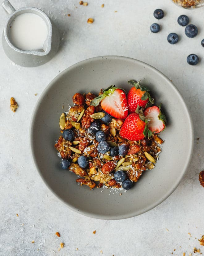 Keto granola with berries in a bowl