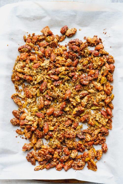 Low-carb granola on baking sheet
