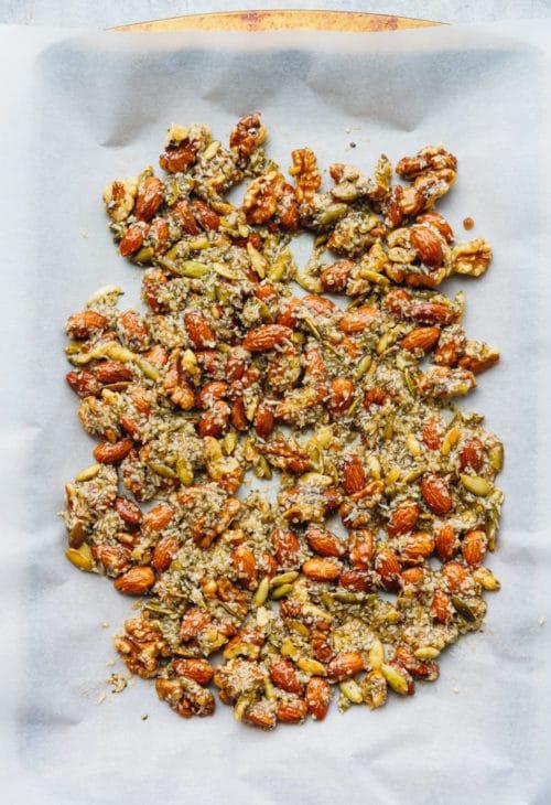 Keto granola on a baking sheet