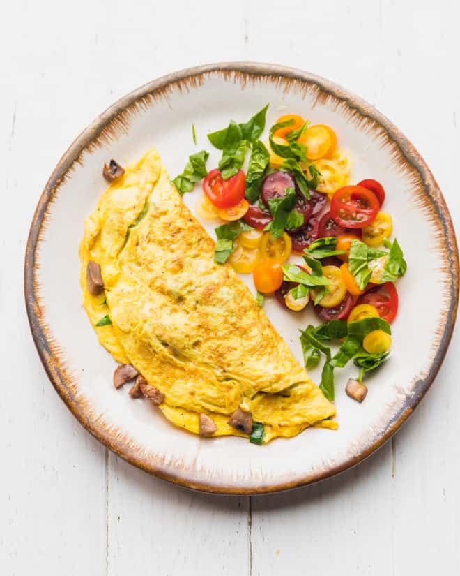 mushroom spinach omelette on a plate