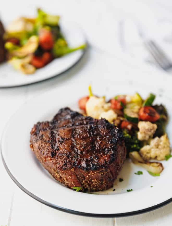 grilled filet mignon on a plate