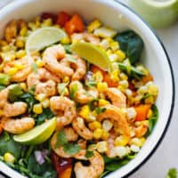 Tequila lime shrimp salad in a white bowl