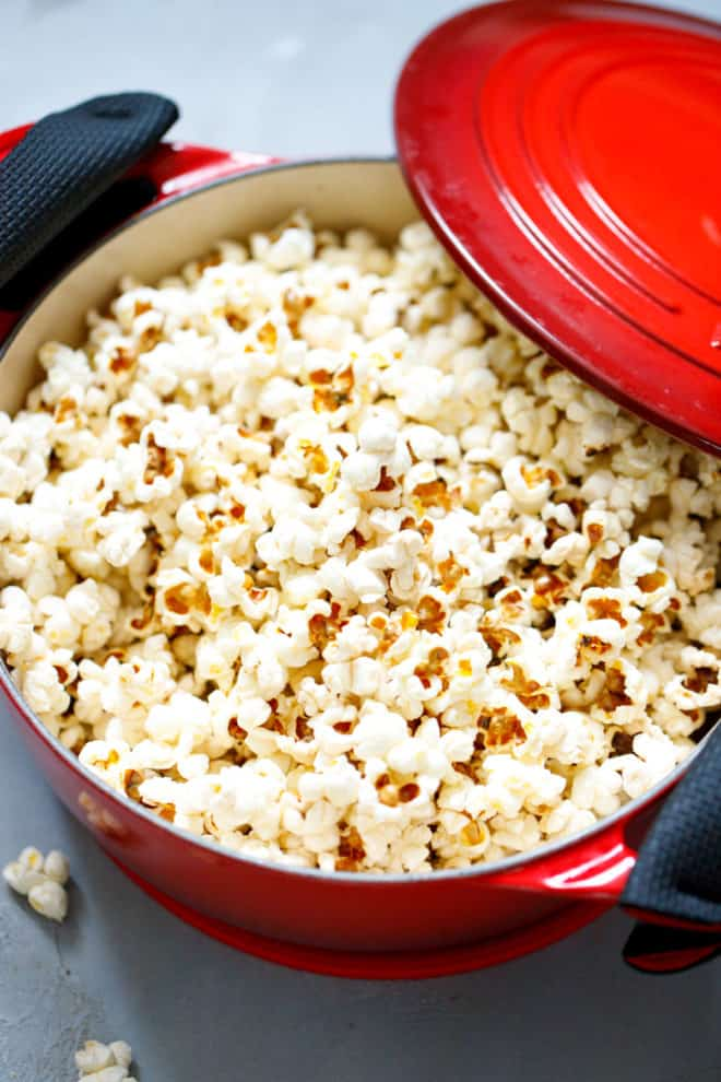 popcorn in a red pot