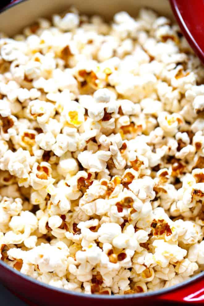 popped popcorn in a pot