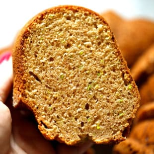 A slice of zucchini bundt cake