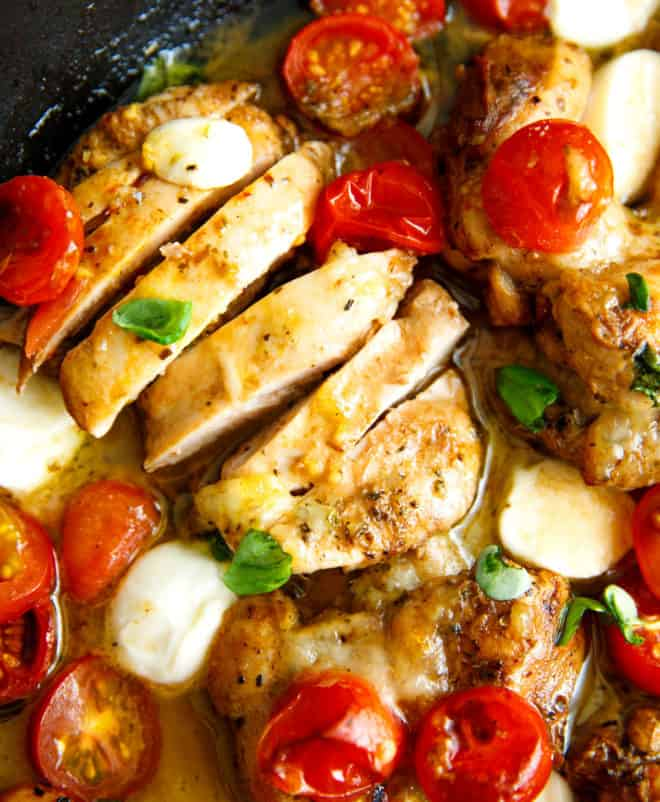 Boneless skinless caprese chicken thighs cut into pieces