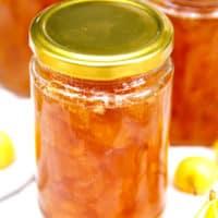 Rainier cherry jam in a jar