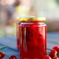 Tart cherry jam in a jar