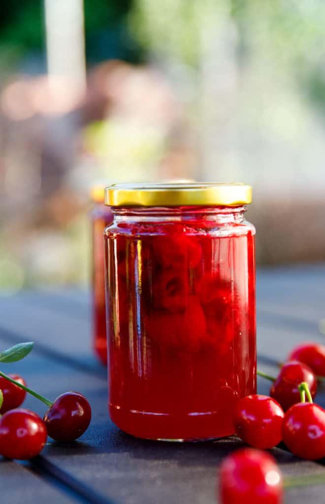 Tart cherry jam in a jar