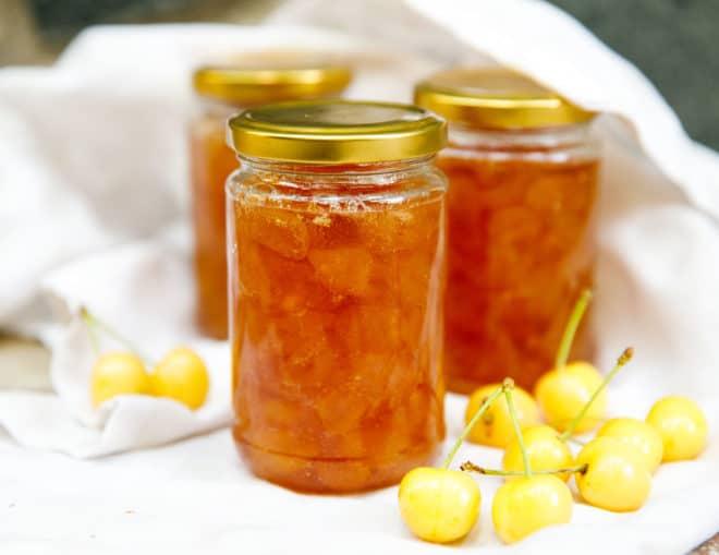 Rainier cherry jam in jars