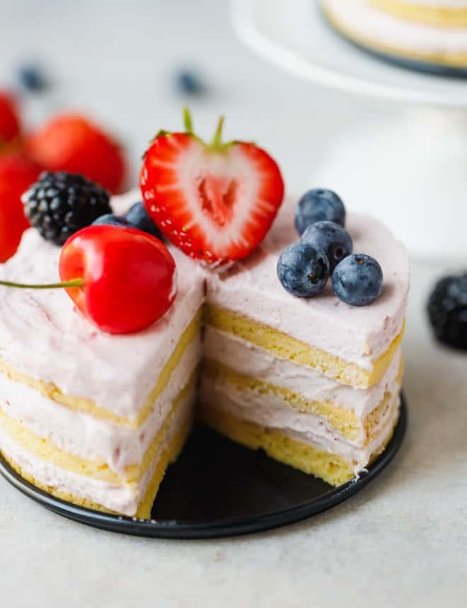 Keto cake on a metal plate