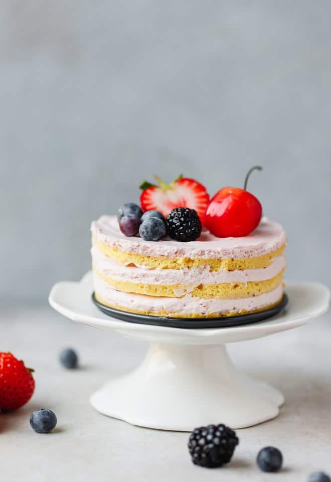 Keto sponge cake on a cake stand