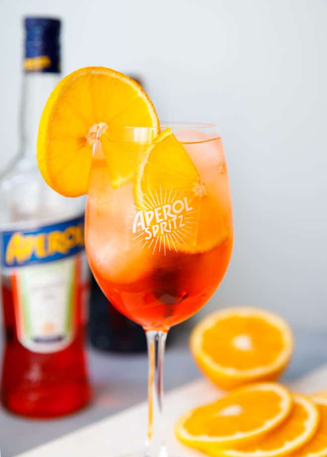 Aperol spritz cocktail in an Aperol glass
