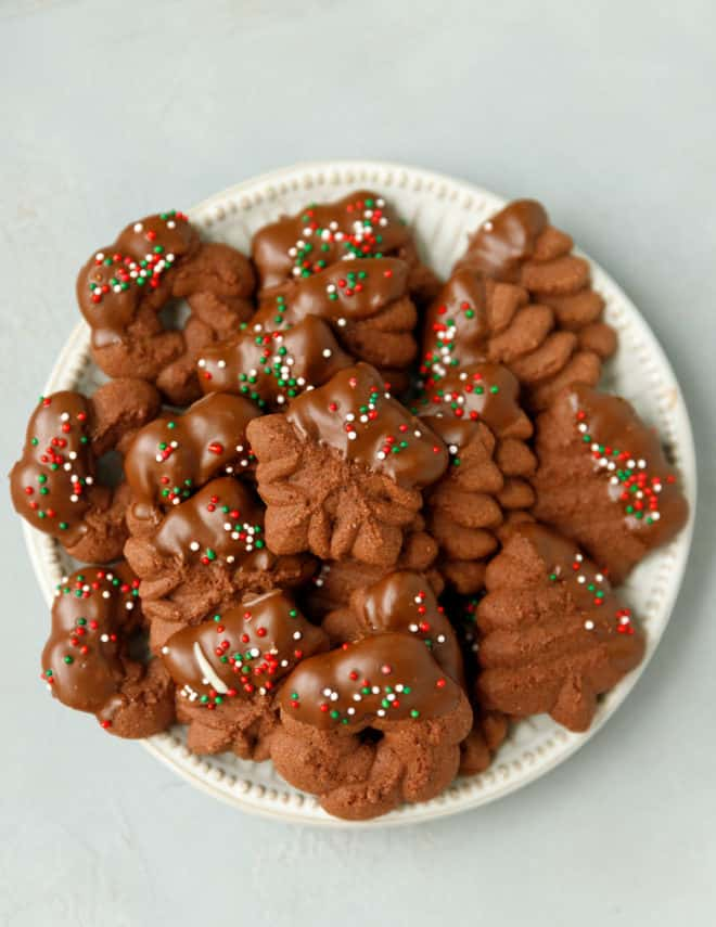 Oxo press chocolate spritz cookies on a plate