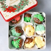 Spritz butter cookies in a Christmas box
