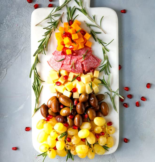 A cheese tray appetizer in the form of a Christmas tree
