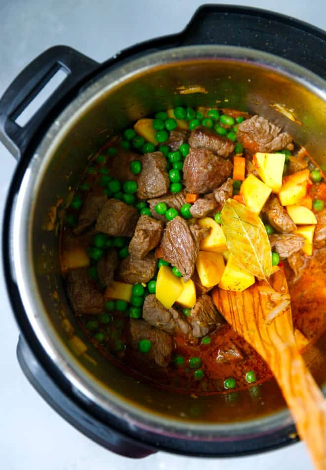 An Instant Pot With Beef Stew Inside