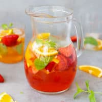 A pitcher with rose sangria