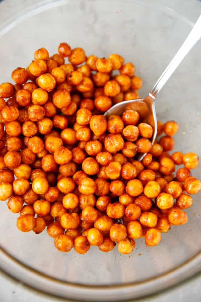 A bowl with Air Fryer Chickpeas